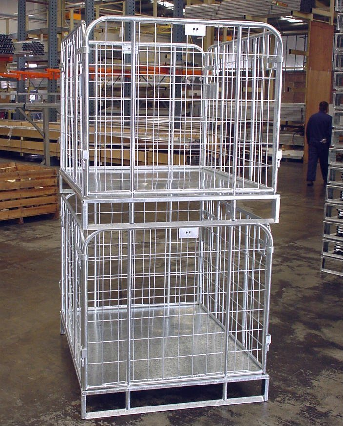 An image of Alcomij's steel crates especially designed for use within the food industry